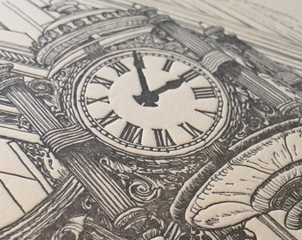 Marshall Fields Clock - Limited Edition Chicago Letterpress Print