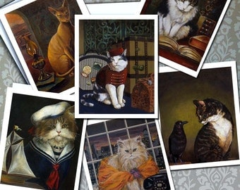 Cat cards - Cat Portrait Notecards - Funny Cats - Cat Humor - Cat Art - Cat Owner Gift - Cat Lover Gift