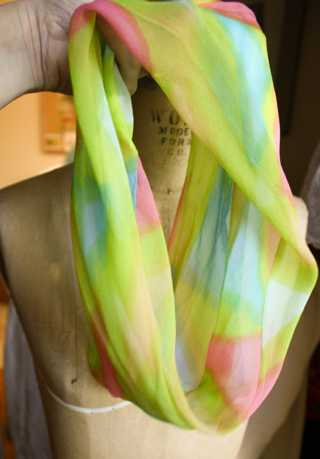 baby blue pink and green smoke ring scarf silk