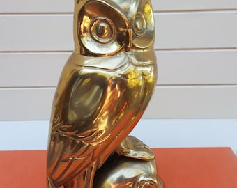 Brass Owl Standing Figurine - Made in Taiwan - Oak Hill Vintage