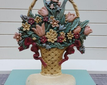 Flower Basket Cast Iron Doorstop - Bookend - Oak Hill Vintage