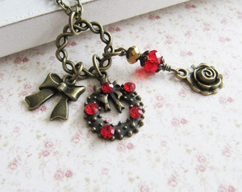 Red crystal charm necklace, Christmas jewelry, vintage style, bronze, for her, Europe