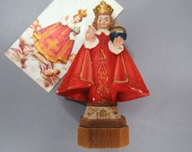 Holy Infant of Prague -  Vintage Anri Toriart, Italy Statuette - Carved Wood