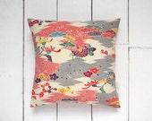 On Sale! Mid Century Modern Grey Chevron Style Japanese Vintage Kimono Silk Pillow Cushion 'Sparkle'