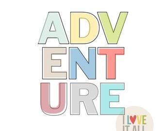 Adventure Art Print . Black and White Travel Roam Wander Wanderlust Sunshine Create Dream Office Home Decor College Room Poster Housewarming