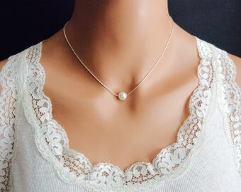 Bridesmaids Gifts Pearl Necklace In Silver Chain With 10mm White Swarovski Crystal Pearl