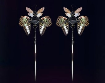SHION / Black Porcupine Quills and Green Butterfly Kanzashi Long Dangle Earrings