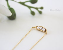Peapod Necklace in Matt Gold. Cute and Sweet. Sisters. Gift For Her (PNL-68)
