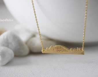 Sydney Necklace in Silver/ Gold. Collarbone Necklace. Australia Necklace. Sydney Skyline. Souvenir. Unisex Gift (PNL-161)