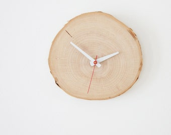natural white birch forest wood clock (Large) - unwind and relax, rustic wall clock, wood slice clock, simple modern clock