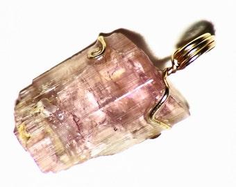 Orange-Pink Tourmaline Crystal (9 ct) Pendant in 14k Yellow Gold