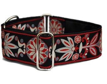 Martingale Collar or Buckle Dog Collar - Pinwheel Jacquard in Red & Gray - 2 Inch, Greyhound Collar, Great Dane Collar, Custom Dog Collar