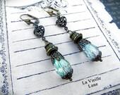 Teal Teardrop Victorian Earrings - Crystal Drop Art Nouveau Earrings, Victorian Jewelry