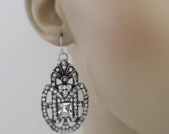 Art Deco Earrings - Statement Earrings - Crystal Earrings - Antique Silver Earrings - Bridal Earrings - Bridesmaid Earrings