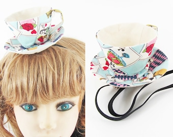 Ready to Ship! Textile Teacup Fascinator-Alice in wonderland Cards & Tea party in Blue