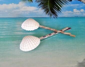 Seashell bobby pins beach hair pins hand painted glitter clamshell pins 2 pc set