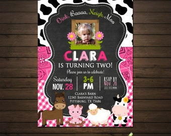 Girls Farm Barnyard Birthday Invitation, Printable File, Farm Animals Invitation,