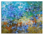 Blue Meadow - Original colorful flowers Floral Oil Painting on Canvas Palette Knife gallery fine art ready to hang impasto