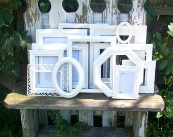 Set of 13 Shabby Chic Bright White Picture Frames for Gallery Wall, Wedding Decor, Nursery Decor