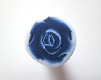 Dark Blue Cane, Rose Polymer Clay Cane, Flower Cane, Millefiori Polymer Clay Cane, Canes, Unbaked Cane, Jewelry, Nail Art, FIMO