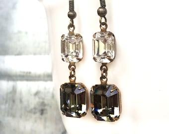 Delicate Bridal Earrings - Delicate Wedding Earrings - Dangly Earrings - Two Stone - Emerald Cut - Dangle Earrings - Double Stone Earrings