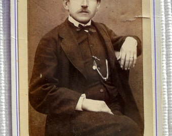 Antique CDV Photo - Man with his Arm Resting on a Chair