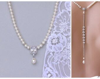 Pearl and Crystal Backdrop Necklace, Ivory Pearl Back Drop Bridal Necklace, Square Crystal Pearl Necklace, EMILIA P