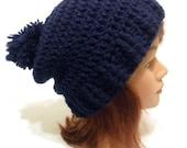 Navy Blue Hat, Pom Pom Hat, Slouchy Blue Hat, Navy Blue Winter Hat, Pom Pom Winter Hat, Slouchy Navy Blue Hat, Classic Winter Hat, Navy Blue