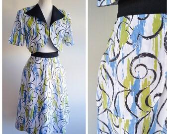 1940s White printed cotton pique skirt & bolero sun set / 40s green blue black printed A line summer skirt suit - S M