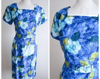 1950s 60s Blue cotton flower print day dress / 50s cotton wiggle dress - L