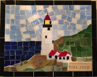 Heceta Head Lighthouse - Florence Oregon Stained Glass Mosaic