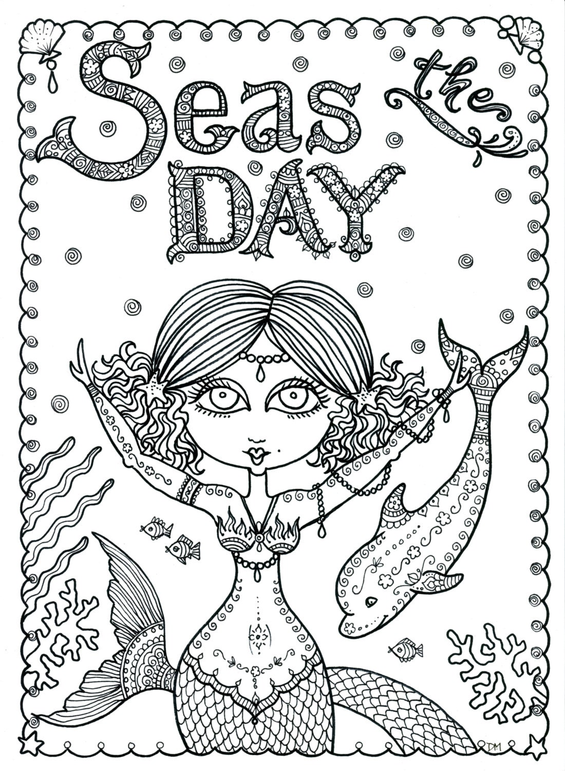 Seas The Day Instant Download Coloring Page Book Art Adult