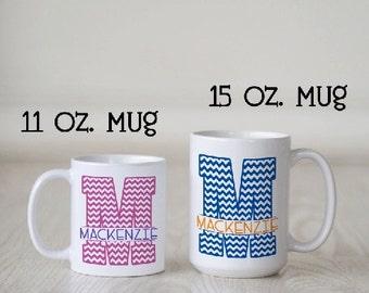 Chevron Mug, Initial Mug, Personalized Monogram Mug, Personalized mug, Monogram initial mug, Spilt Chevron Initial Mug, Custom mug