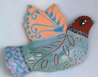 Ceramic Wall Bird, Hand Made Pottery medium size Bird by Cathy Kiffney