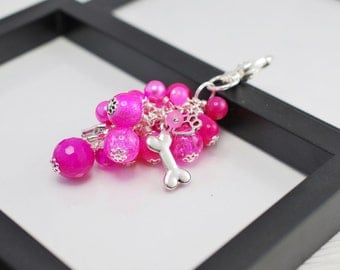 Pink Dog Purse Charm, Beaded Purse Charm, Pink Purse Charm, Dog Purse Charm, Hot Pink, Purse Charm, Animal Lover Gift, Free Shipping