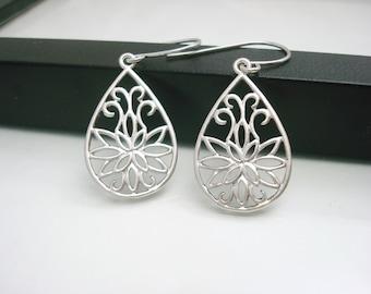 Silver Filigree Earrings, Filigree Earrings, Silver Drop Earrings, Lotus Flower Earrings, Gift for Her, Matte Earrings, Silver Earrings