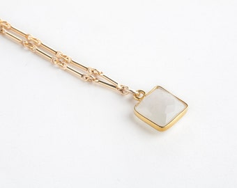 Rainbow Moonstone Pendant-gold necklace, dainty necklace, stone necklace, short necklace, dainty necklace