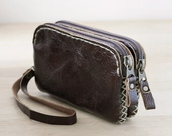 IPhone 5s, Hand Sewn Zipper Leather Pouch in Dark Brown, sdzi5s002