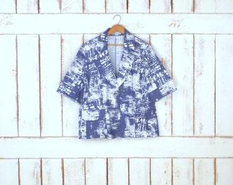 90s vintage blue/white short sleeve boxy blazer jacket/graphic print stretch blazer/stretch denim blazer/Lucienne Phillip