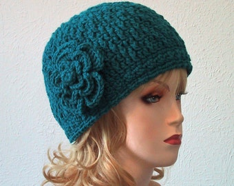 Teal Beanie Hat w/Flower - Ladies Size Medium - Warm & Soft Acrylic Yarn - Hand Crocheted - Handmade - Great Chemo Cap - Nice Gift