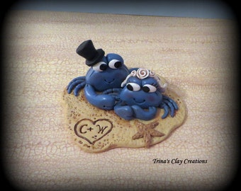 Wedding Cake Topper, Custom Blue Crabs in the Sand, Personalized Polymer Clay Wedding/Anniversary Keepsake, Sea, Ocean, Crabs