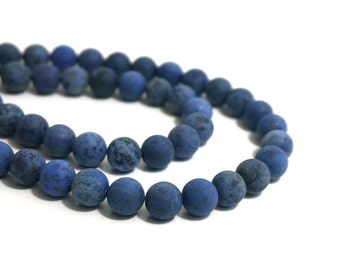 Blue Dumortierite Beads, Matte Finish, 10mm round gemstone bead, Full & Half strands available  (954S)