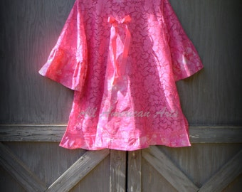 Upcycled, Refashioned, Eco-Friendly, Boho, Ladies, Tunic, Top, Pink, Size L - XL