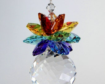 30mm MOZART TWIST BALL Chakra Pineapple Sun Catcher Car Charm Hospitality Ornament Gift m/w All Swarovski® Crystal, Pearl Place N More