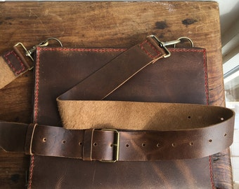 Zippered leather portfolio, Leather document carrier, Leather portfolio folder, Business organizer, Legal notepad holder, Notebook folder