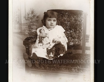Cute Antique Photo ~ Little Concord New Hampshire Girl Holding Doll & CAT