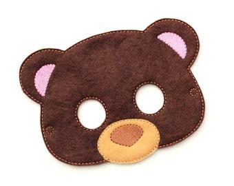 Bear mask etsy kids bear mask teddy bear costume felt mask kids face mask animal pronofoot35fo Gallery