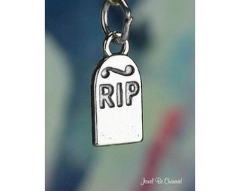Sterling Silver Tombstone Charm RIP Grave Dead Rest in Peace Solid 925