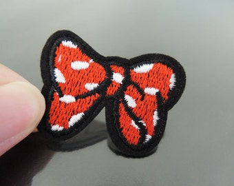 Red Bowtie Patches - Iron on Patch or Sewing on Patch Little Lady Girl Bowtie Patches Red Patch Embellishments Embroidery