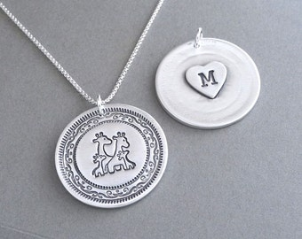 Personalized Giraffe Family Necklace, Heart Monogram, Mom, Dad, Two Babies, New Family, Fine Silver, Sterling Silver Chain, Made To Order